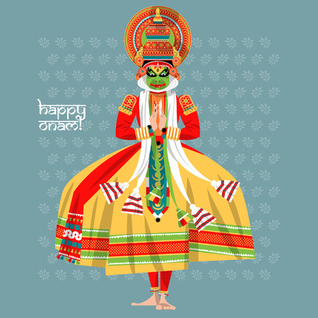 Versierde Indische Kathakali danser. Gelukkig Onam. Vector illustratie.