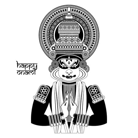 onam: Decorated Indian Kathakali dancer. Happy Onam. Black and white. Vector illustration