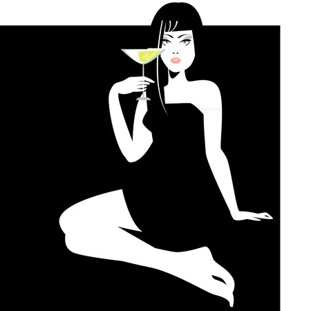 vamp: Woman with a glass in a hand. Vector illustration