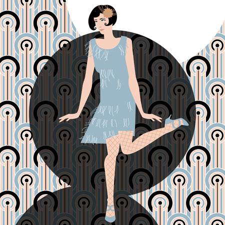 tänzerinnen: Frau tanzen Charleston. Art-deco. Retro-Stil. Vektor-Illustration Illustration