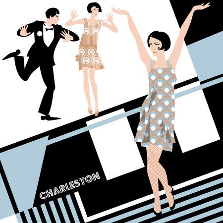 twenties: The Charleston. Retro Dancers. Art-deco. Vector illustration Illustration