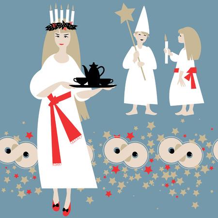 Santa Lucía. Tradición navideña sueca. Día de San Lucias. Navidad escandinava. Ilustración vectorial Foto de archivo - 44123633