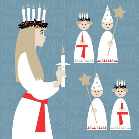 Saint Lucia. Swedish Christmas tradition. St. Lucias Day. Scandinavian Christmas. Vector illustration Çizim