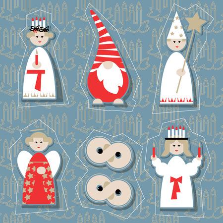 scandinavian christmas: Christmas dolls. Scandinavian Christmas tradition. Vector illustration