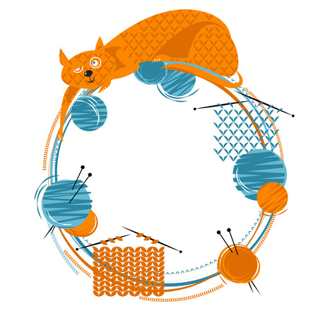 Cat with a knitting and balls of yarn. Vector illustration