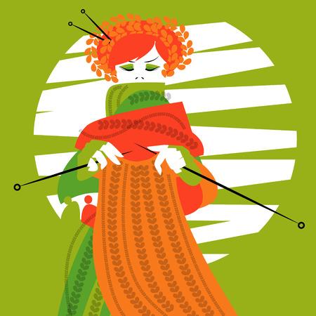 knitting: Knitting woman. Vector illustration Illustration