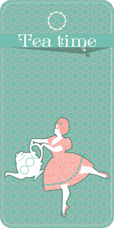 plump: Tea time. Plump woman pouring tea. Tea party vintage card. Vector illustration