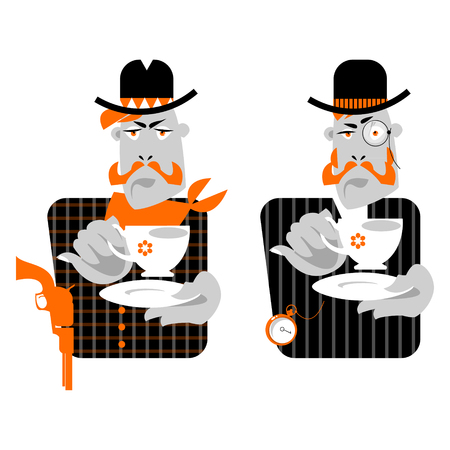 vaquero: Set of man with cup of coffee. Retro style. Cowboy and gentleman. Vector illustration