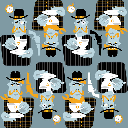 vaquero: Set of man with cup of coffee. Retro style. Cowboy and gentleman. Seamless background pattern. Vector illustration Illustration