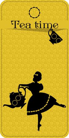 お茶の時間。肉付きの良い女性がお茶を注ぐ。ティー パーティー ビンテージ カード。ベクトル図