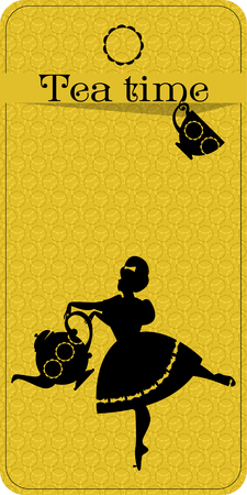 Tea time. Plump woman pouring tea. Tea party vintage card. Vector illustration