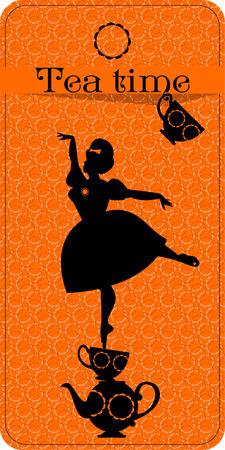 Tea time. Plump woman pouring tea. Tea party vintage card. Vector illustration