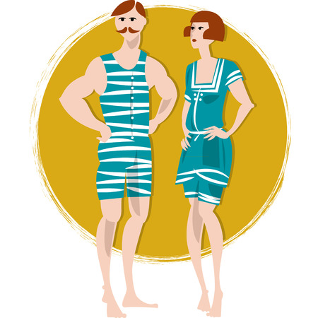 swimwear: Couple in swimwears. Retro style. Art deco. Vector illustration Illustration