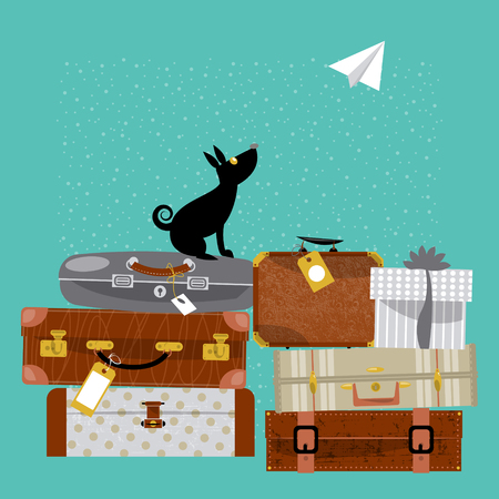 vintages: Travel concept. Stack of vintages suitcases, dog and paper plane. Vector illustration.
