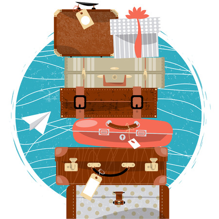 Travel concept. Stack of vintages suitcases and paper plane. Vector illustration.