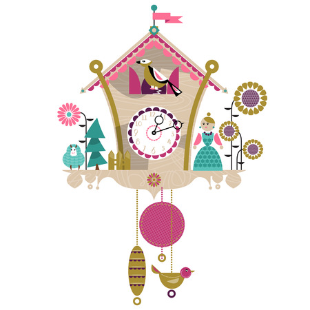 lady clock: Cuckoo clock with toy. Retro style.Vector illustration.