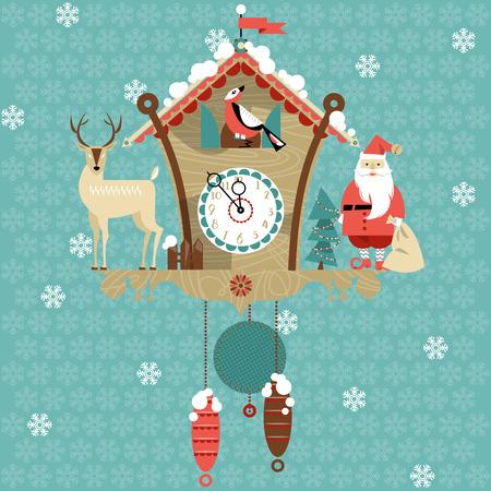 Christmas cuckoo clock. Vector illustration Illustration