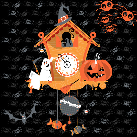 scary story: Cuckoo clock with ghost, cat and pumpkin. Halloween style. Vector illustration