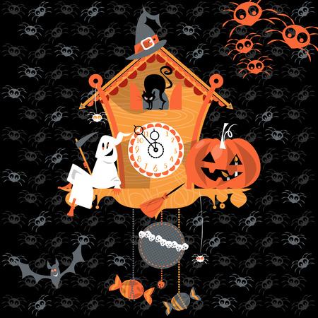 reloj cucu: Reloj de cuco con el fantasma, gato y calabaza. Estilo de Halloween. Ilustración vectorial