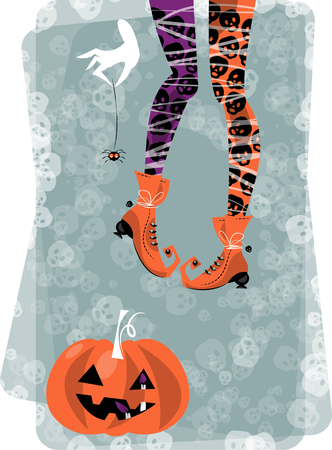 Halloween witch with spider and pumpkin. Vector illustration