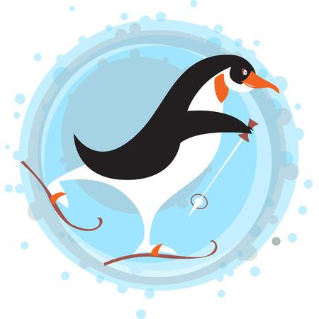 winter vector: Skiing Penguin. Winter. Vector illustration