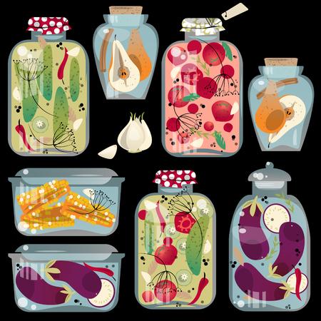 food preparation: Glass jars with preserved vegetables. Vector illustration