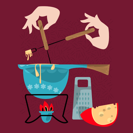 Cheese fondue. Traditional swiss food. Vector illustration Ilustracja