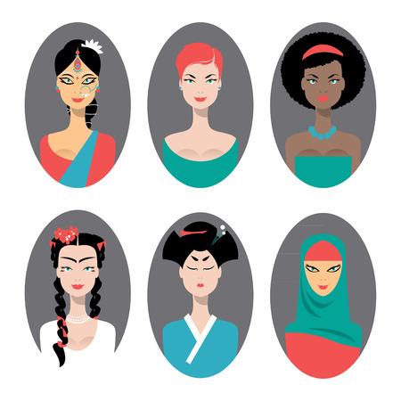 racially diverse: Ethnically racially religiously diverse women. Set of icons. Vector illustration Illustration