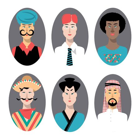 racially diverse: Ethnically racially religiously diverse men. Set of icons. Vector illustration