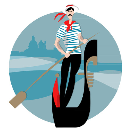 gondolier: Gondola with gondolier on a canal in Venice. Vector illustration
