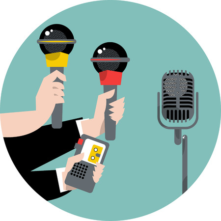 Hands holding microphones and voice recorders. Journalism concep. Vector illustration Ilustracja