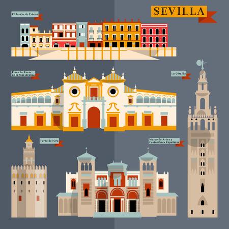 Bezienswaardigheden van Sevilla. Andalusië, Spanje, Europa. Vector illustratie