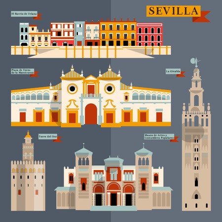 Sights of Seville. Andalusia, Spain, Europe. Vector illustration