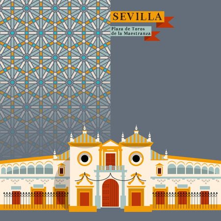 toros: Plaza de Toros de la Maestranza. Sights of Seville. Andalusia, Spain, Europe. Vector illustration Illustration
