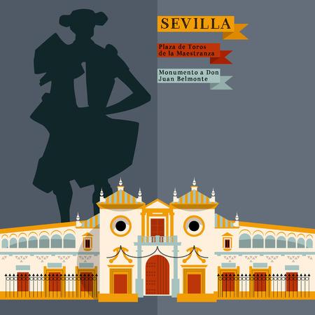 plaza de toros: Plaza de Toros de la Maestranza. Monumento a Don Juan Belmonte. Sights of Seville. Andalusia, Spain, Europe. Vector illustration Illustration