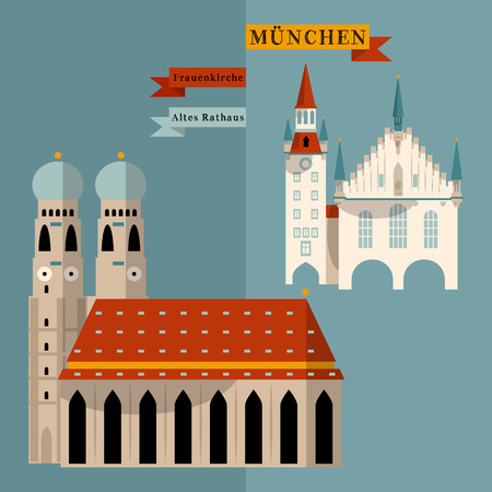 point of interest: Sights of Munich. Bavaria, Germany, Europe. Vector illustration Illustration