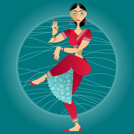 donna che balla: Decorato donna che balla indiana. Illustrazione vettoriale.