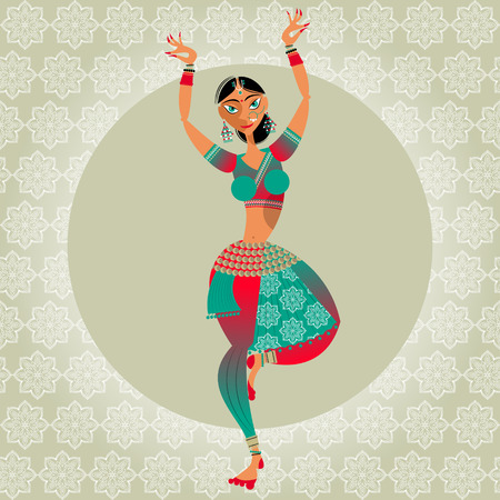 Decorated indian woman dancing. Vector illustration. Ilustracja