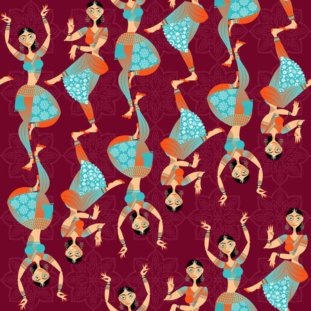 vector pattern: Indian woman dancing. Seamless background pattern. Vector illustration.
