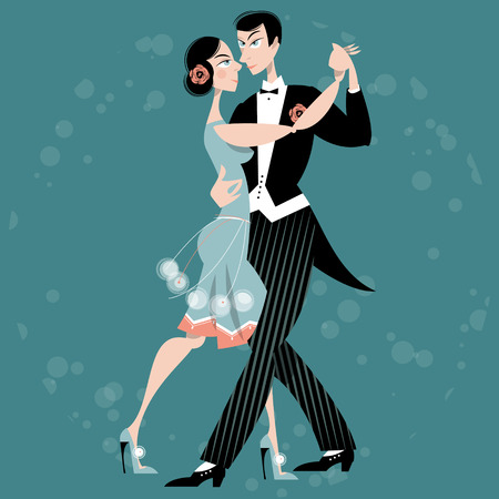 dancers: Dancing couple. Art deco. Retro. Vector illustration. Illustration