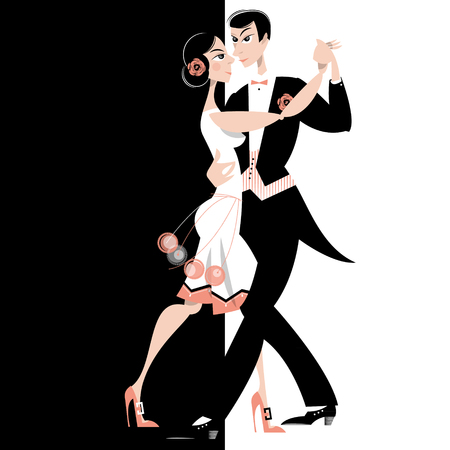 Dancing couple. Art deco. Retro. Vector illustration. Çizim