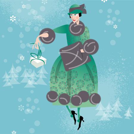 woman in fur coat: Winter. Woman shopping. Retro style. Art deco. Vector illustration. Illustration