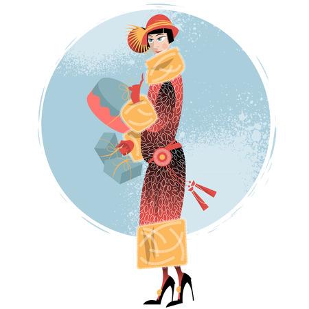 warmer: Winter. Woman shopping. Retro style. Art deco. Vector illustration. Illustration