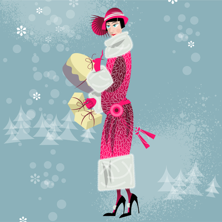fur coat: Winter. Woman shopping. Retro style. Art deco. Vector illustration. Illustration