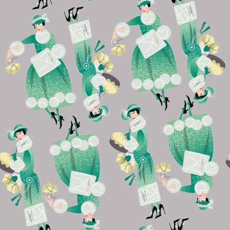 woman in fur coat: Winter. Woman shopping. Retro style. Art deco. Seamless background pattern. Vector illustration. Illustration