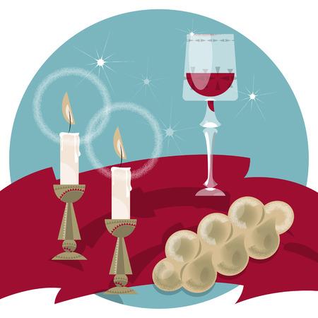 Shabbat Shalom. Kaarsen, kiddush beker en challah. Joodse tradities. Vector illustratie
