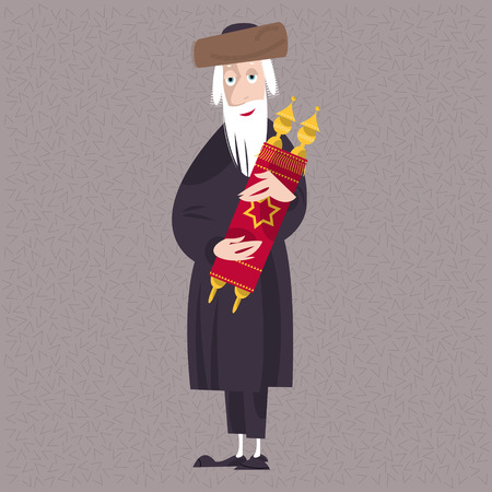 rabbi: Orthodox jewish man holds the torah. Vector illustration
