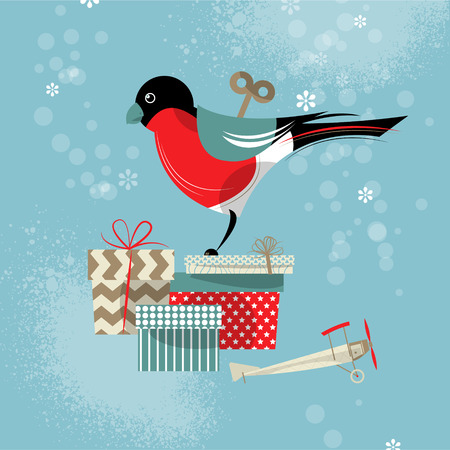 windup: Wind-up toy bullfinch and gifts. Happy holidays. Vector illustration