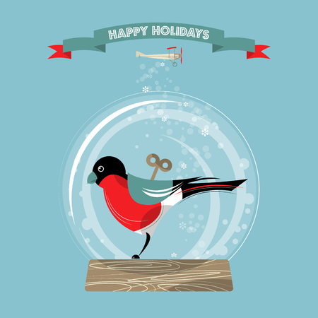 snow globe: Christmas snow globe and toy bullfinch. Happy holidays. Vector illustration. Illustration