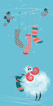 knitting: Sheep and christmas sock. Happy holidays. Vector illustration